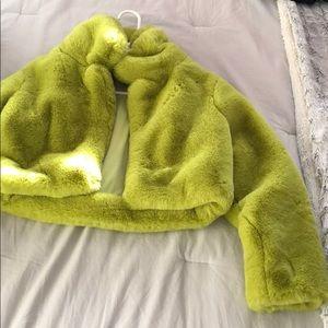 Green crop faux fur coat